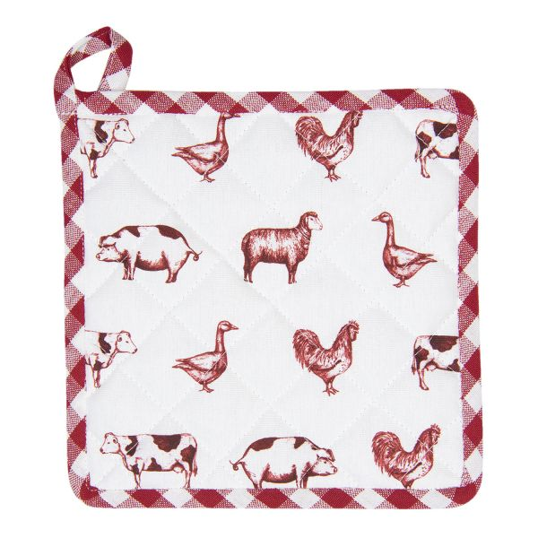 Clayre & Eef Topflappen, rot Country Life Animals
