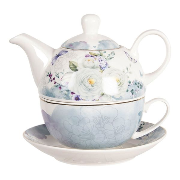 Clayre & Eef Tea for One Butterfly & Flower (Set 3-tlg.)