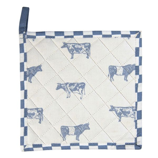 Clayre & Eef Topflappen Life with Cows, blau
