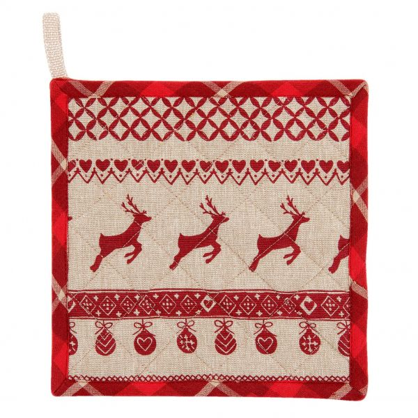 Clayre & Eef Topflappen Nordic Christmas rot