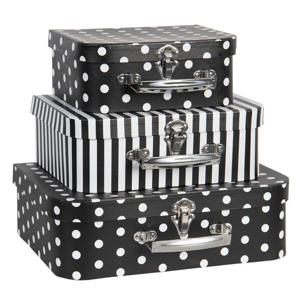 Clayre & Eef Deko Koffer Dots & Stripes, schwarz (Set)